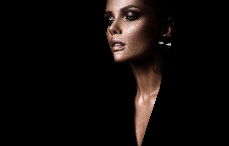 Photo wallpaper girl, face, style, background, black, model, makeup