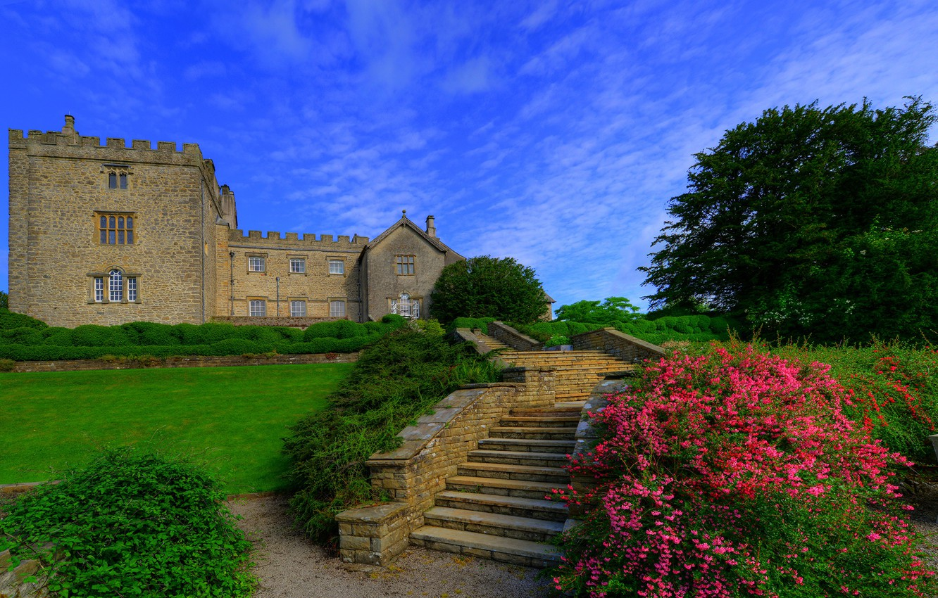 Photo wallpaper greens, the sky, grass, clouds, trees, flowers, castle, lawn, England, garden, ladder, stage, the bushes, …