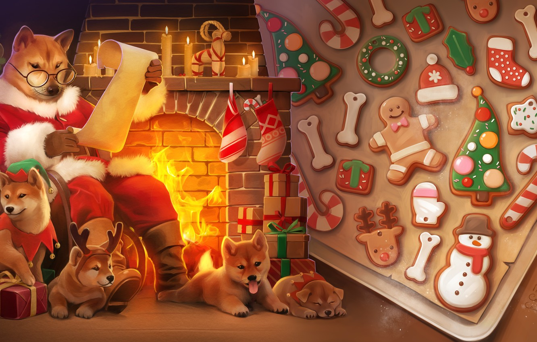 Photo wallpaper mood, holiday, art, gifts, New year, fireplace, herringbone, cookies, children's, Alexander Khitrov, audiBuendia art, Christmas …