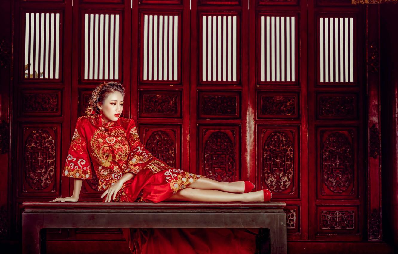 Photo wallpaper girl, pose, style, model, Asian, bench