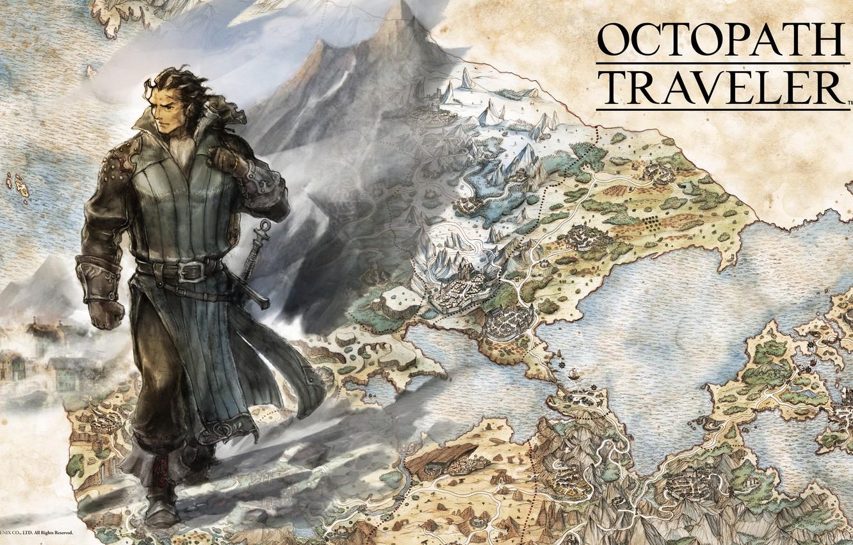Photo wallpaper sword, fantasy, game, soldier, map, digital art, artwork, warrior, fantasy art, Octopath Traveler, Olberic Eisenberg