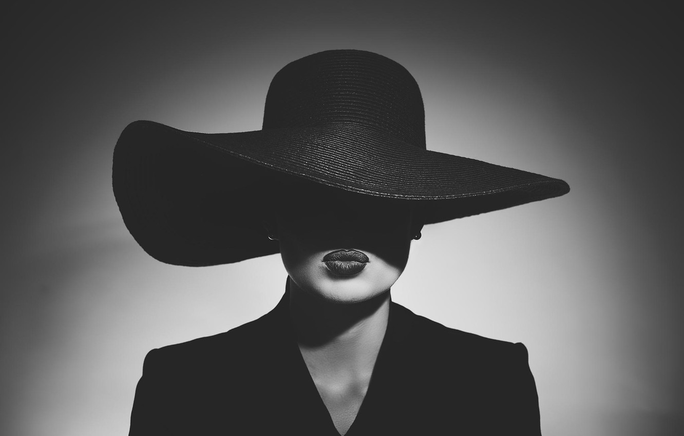 Photo wallpaper style, retro, black and white, shadow, lighting, lips, hat, Noir, vintage