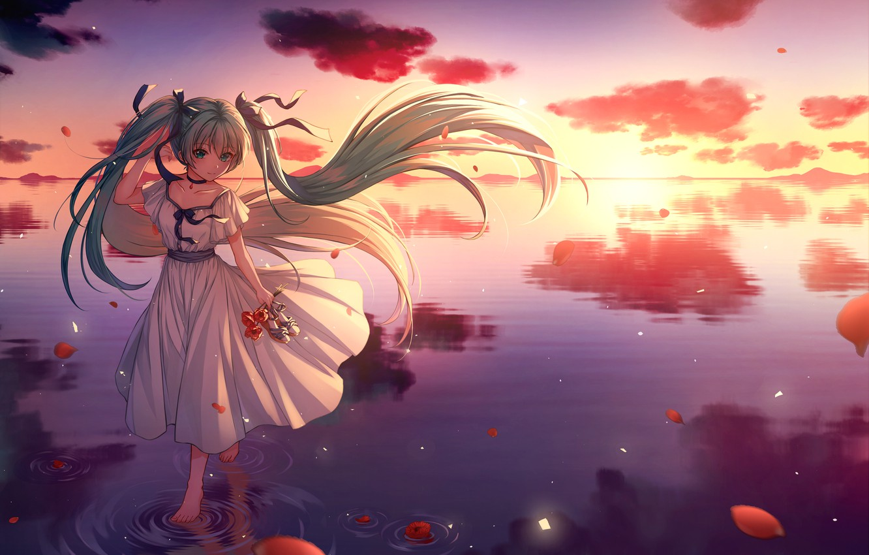 Photo wallpaper horizon, calm, bows, vocaloid, Hatsune Miku, white dress, long hair, Vocaloid, on the water, the …