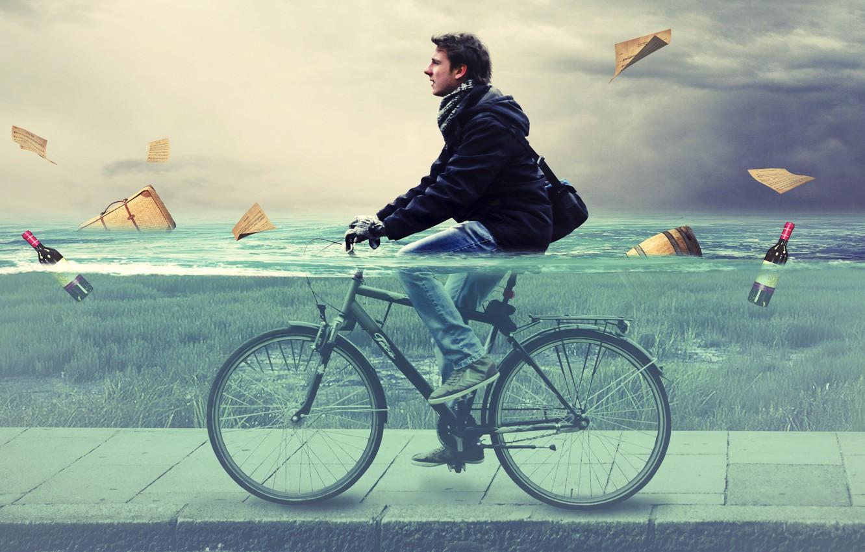 Photo wallpaper water, bike, people