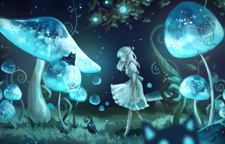 Photo wallpaper girl, cats, night, mushrooms, fantasy