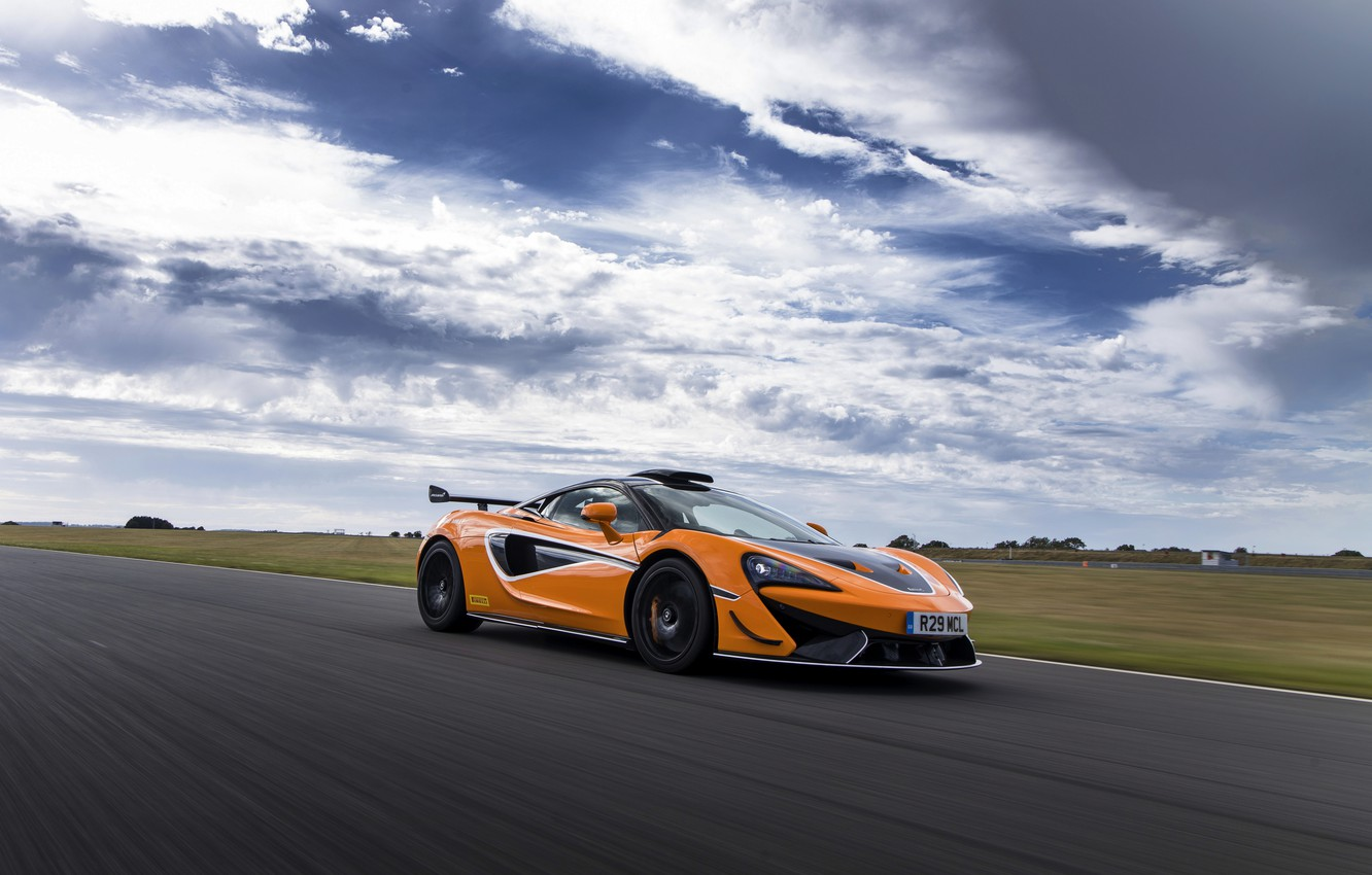 Photo wallpaper coupe, McLaren, in motion, 2020, V8 twin-turbo, 620R, 620 HP, 3.8 L.