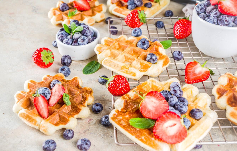 Photo wallpaper berries, waffles, powdered sugar