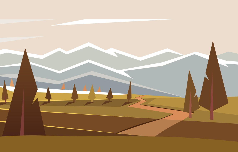 Photo wallpaper forest, trees, easy, green, graphics, tree, vector, hi-tech, illustrator, vector graphics, Illustrator, minimalism