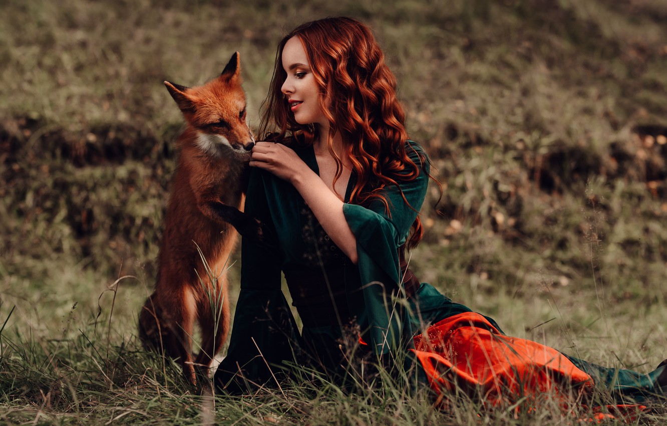 Photo wallpaper girl, mood, hair, Fox, red, friends, redhead, curls, Natalia Andreeva, by Альбина Пономарёва