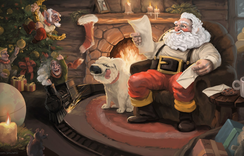 Photo wallpaper Dog, Figure, Santa, Holiday, Santa Claus, Art, Christmas, Art, Fireplace, Merry Christmas, Santa, Santa Claus, …