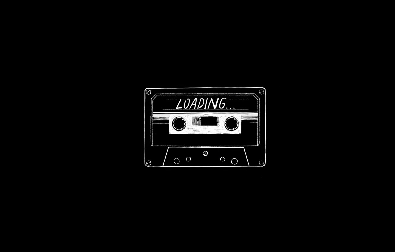Photo wallpaper minimalism, black background, cassette