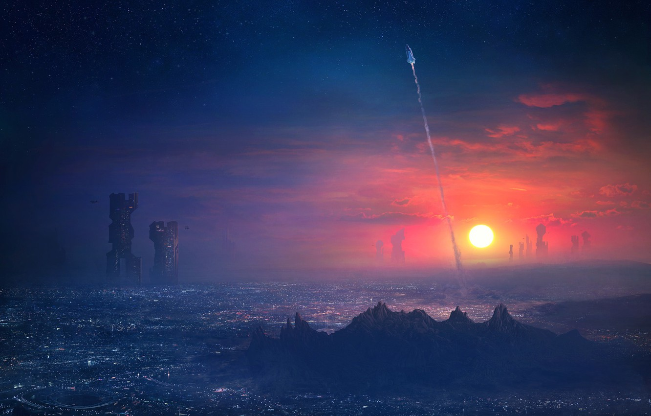 Photo wallpaper Sunset, The sun, The sky, The city, Future, Ship, Trail, Rocket, Spaceship, Start, Fiction, Concept …