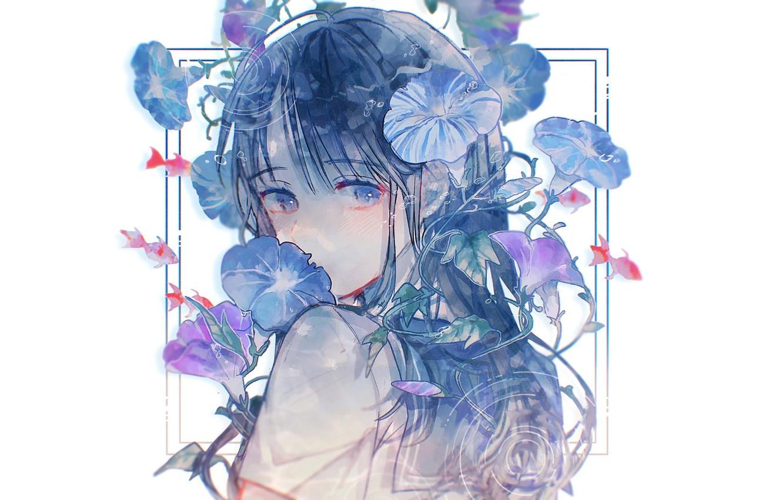 Photo wallpaper fish, face, white background, schoolgirl, blue eyes, blue hair, bangs, blue flowers, bindweed, sailor, sideways