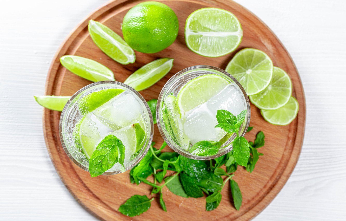 Photo wallpaper photo, Leaves, Glass, Ice, Lime, Food, Mojito, Drinks, Mint