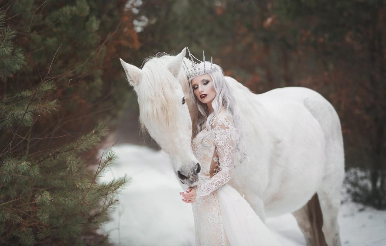 Photo wallpaper winter, white, girl, snow, style, horse, horse, dress, fantasy, Princess, in white, Marketa Novak