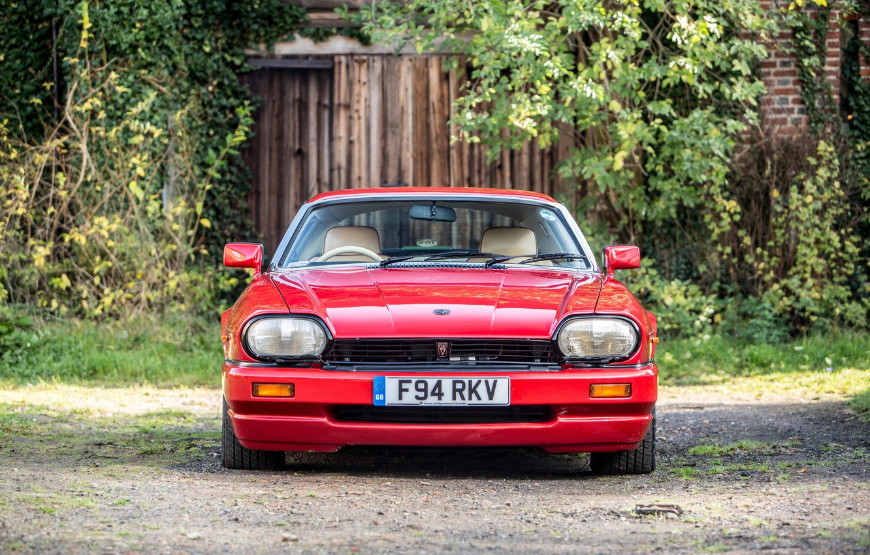 Photo wallpaper Red, Front view, Classic car, Jaguar XJR-S