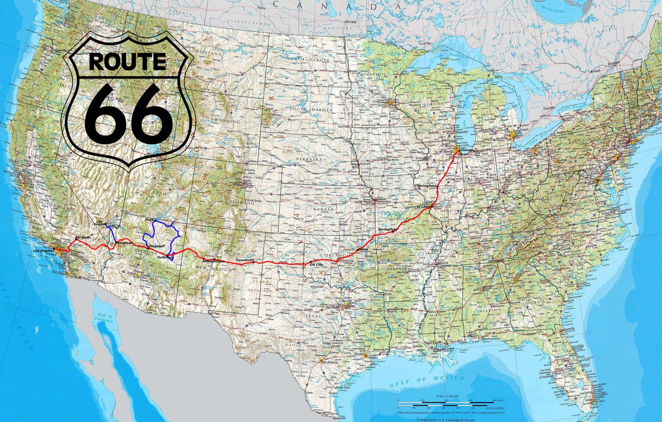 Map Of America Showing Route 66.Wallpaper Usa Road Map Route 66 Highway Miscellanea