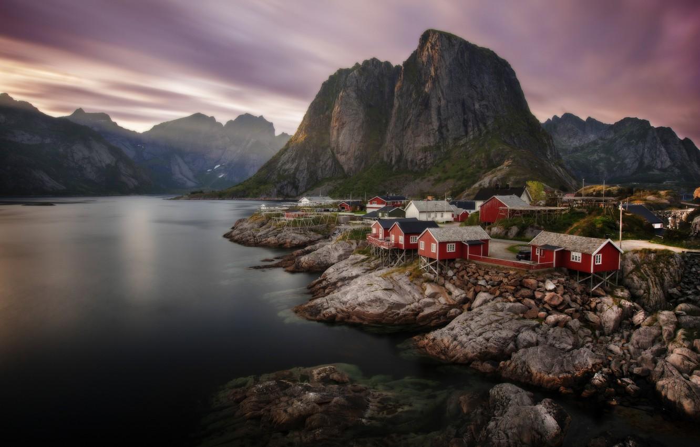 Photo wallpaper sea, landscape, mountains, stones, shore, village, home, village, Norway, The Lofoten Islands, Lofoten, Sergey Zalivin, …