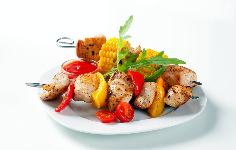 Photo wallpaper plate, vegetables, kebab
