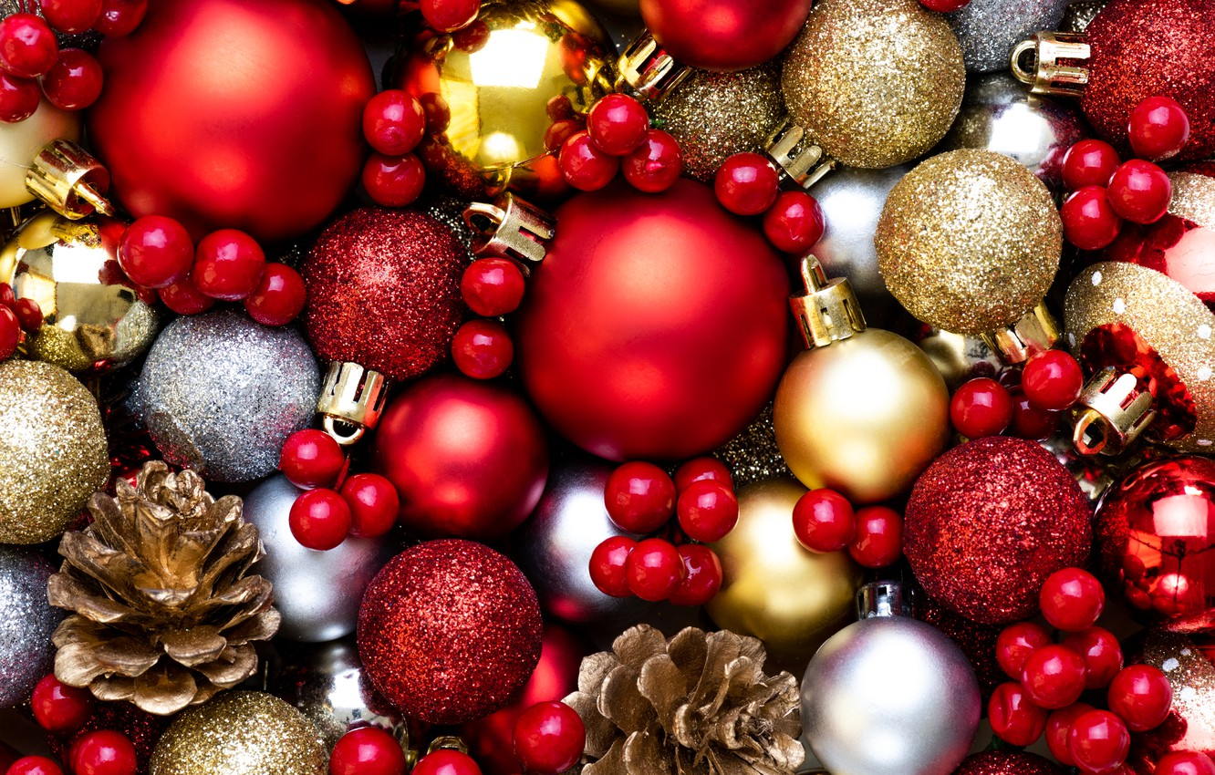 Photo wallpaper decoration, balls, colorful, New Year, Christmas, Christmas, balls, New Year, decoration, Merry