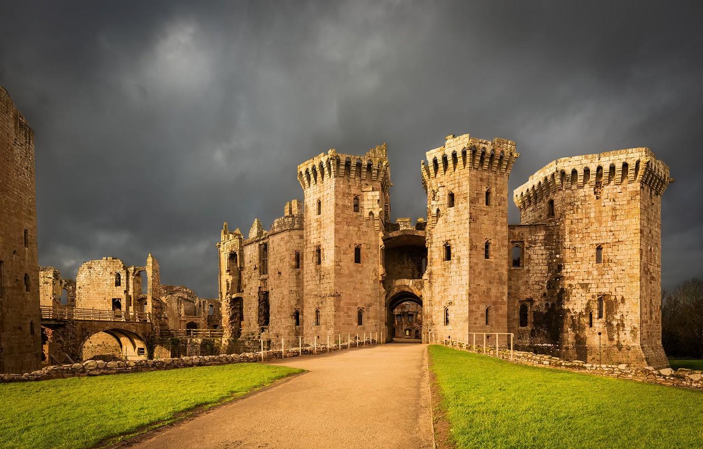 Photo wallpaper Wales, United Kingdom, Raglan Castle, Monmouthshire
