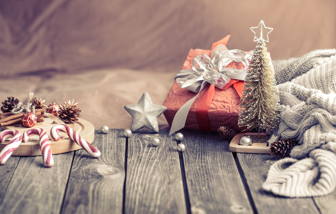Photo wallpaper decoration, lights, tree, Christmas, New year, christmas, wood, vintage, bokeh, decoration