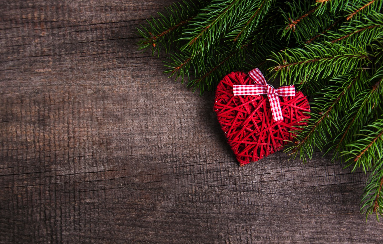 Wallpaper Decoration Heart New Year Christmas Love Christmas Heart Wood Merry Decoration Fir Tree Fir Tree Branches Images For Desktop Section Novyj God Download