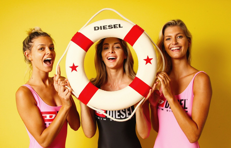 Photo wallpaper swimsuit, smile, girls, model, round