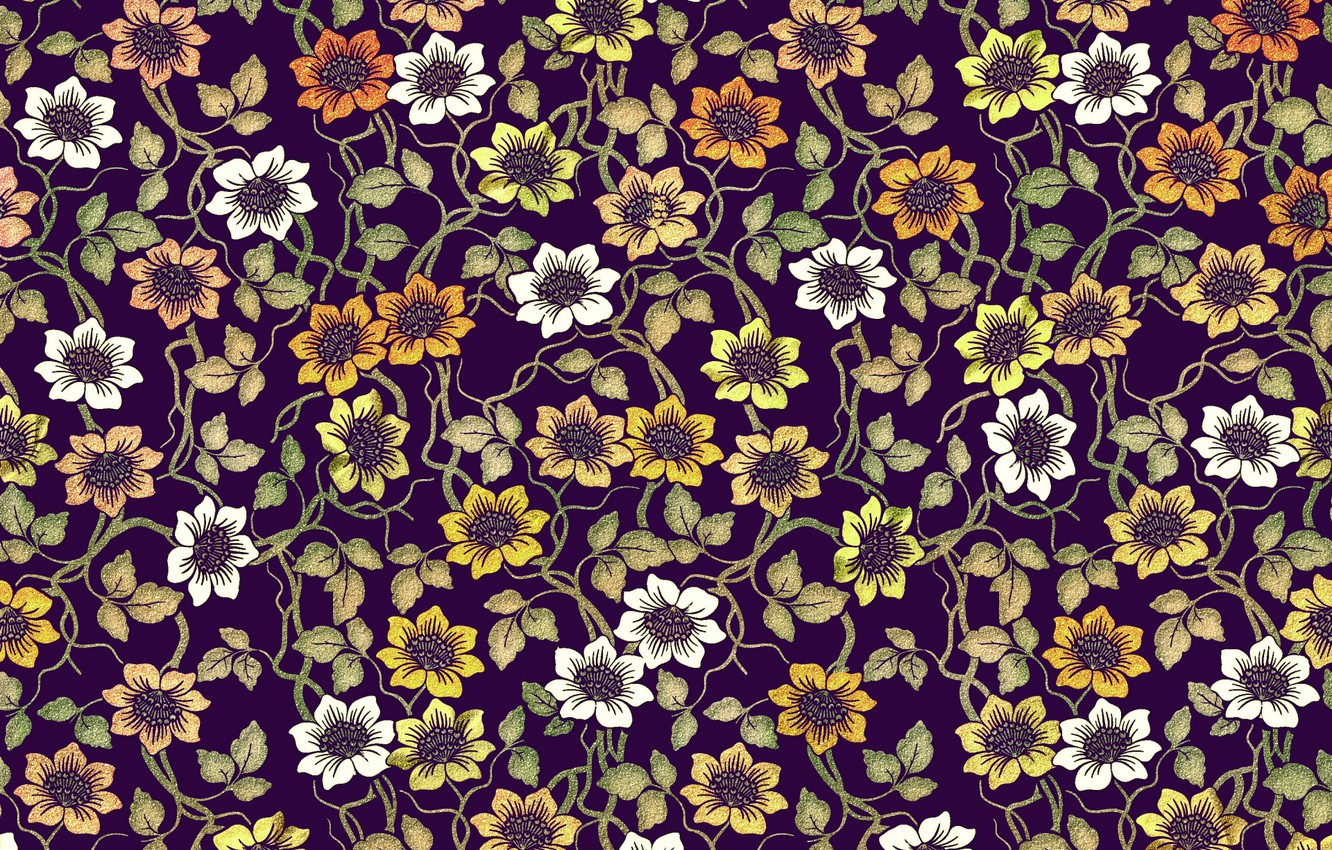 Photo wallpaper flowers, pattern, design, pattern, floral, coloful