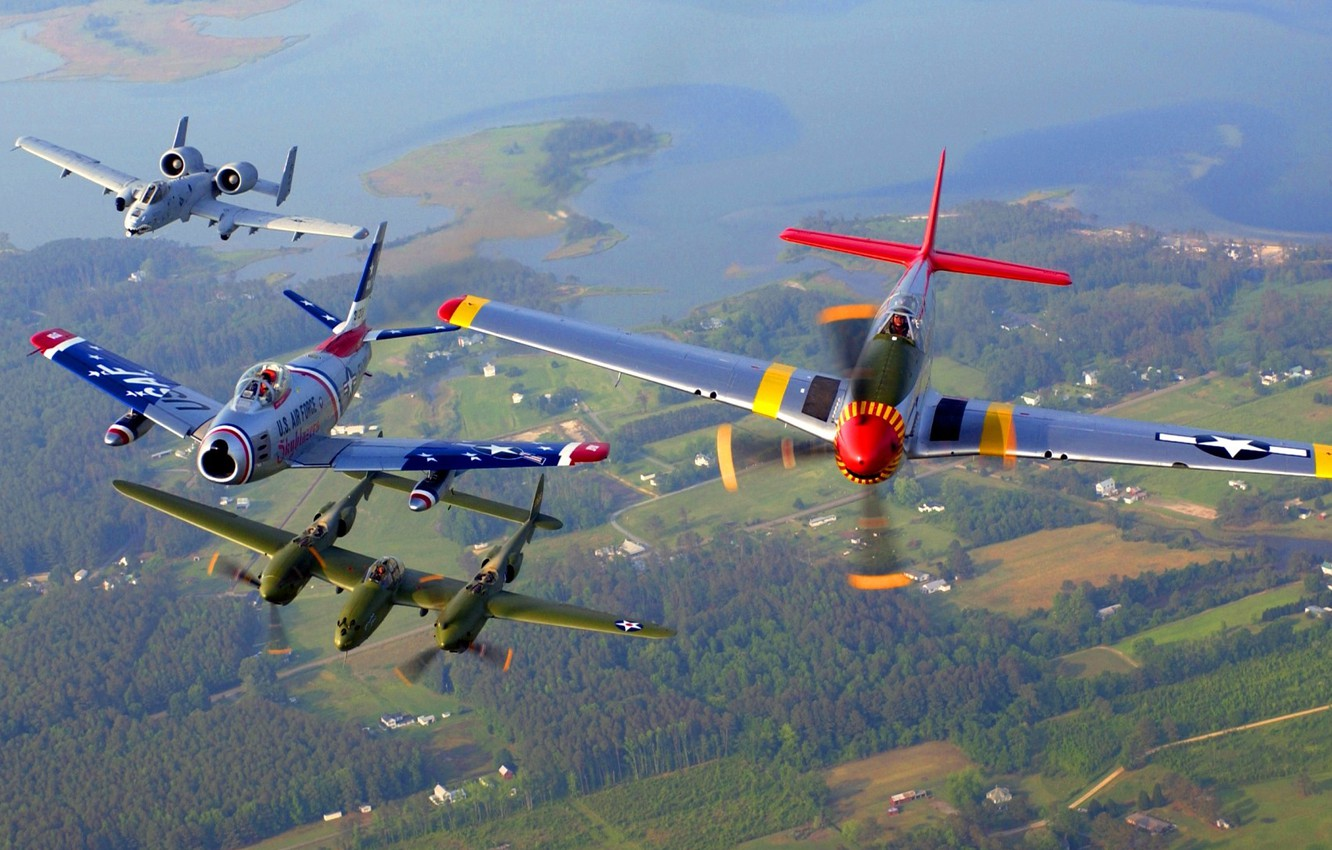 Photo wallpaper flight, retro, aircraft, parade
