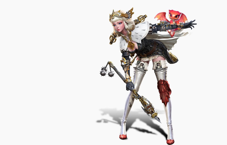Photo wallpaper rendering, the game, fantasy, art, illustration, pet, costume design, sim insu, girl&dragon