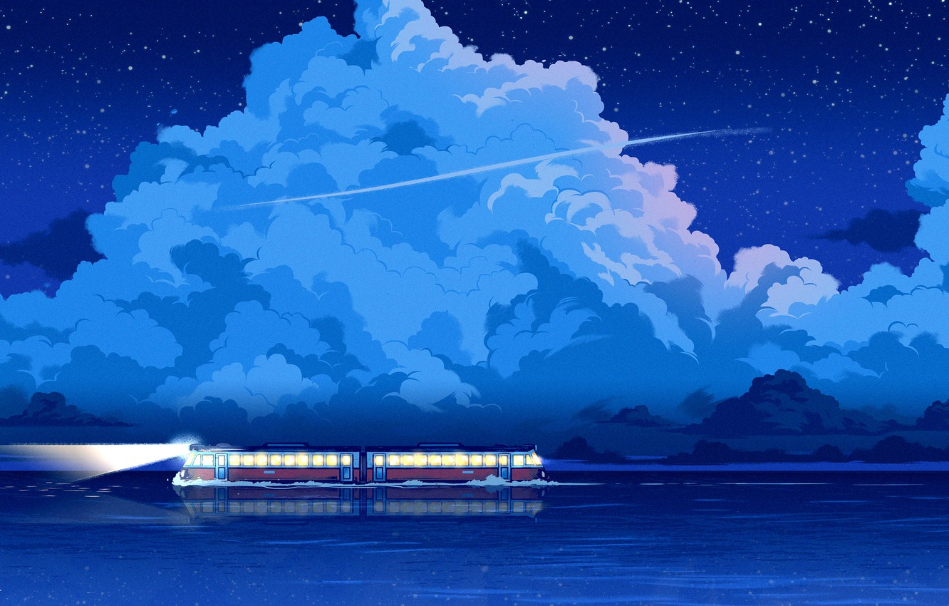 Wallpaper Water Clouds Reflection Sea Night Stars Style Train Clouds Art Stars Art Water Style Night Fiction Images For Desktop Section Art Download