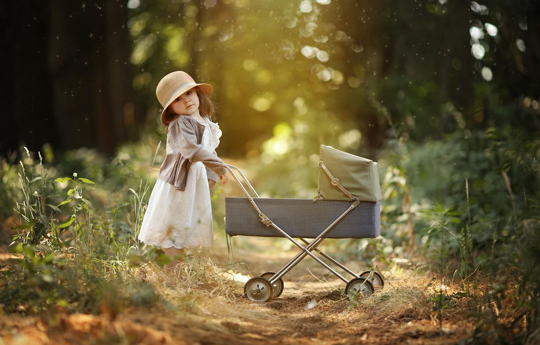 Photo wallpaper nature, toy, the game, dress, girl, stroller, hat, child, bokeh, Larisa Korsikova