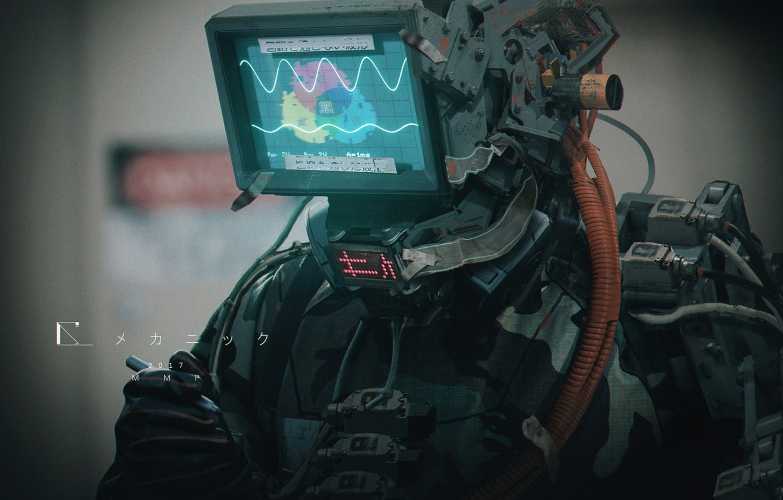 Photo wallpaper robot, characters, display, screen, MMP