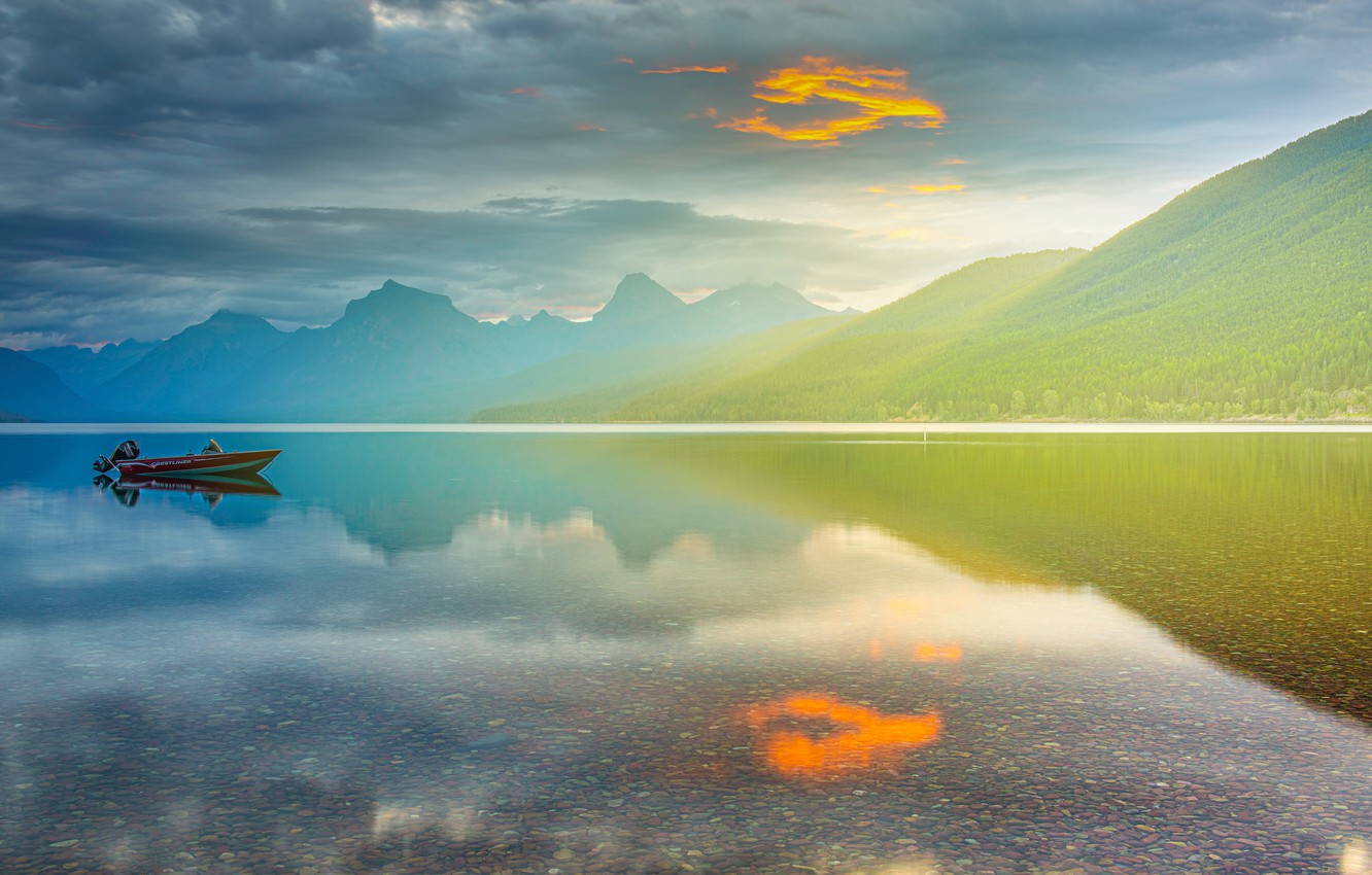 Photo wallpaper forest, the sky, clouds, mountains, fog, lake, reflection, shore, boat, the slopes, the bottom, dal, …