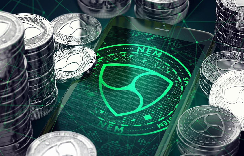 Photo wallpaper green, green, logo, coins, coins, xem, not, nem