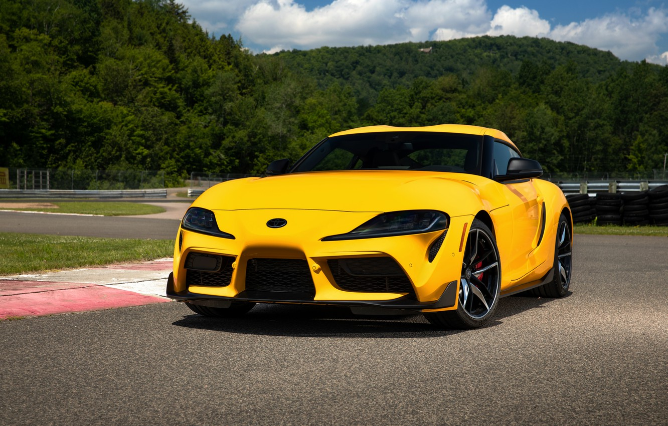 Photo wallpaper yellow, coupe, Toyota, Supra, the fifth generation, mk5, on the track, double, 2020, GR Above, …