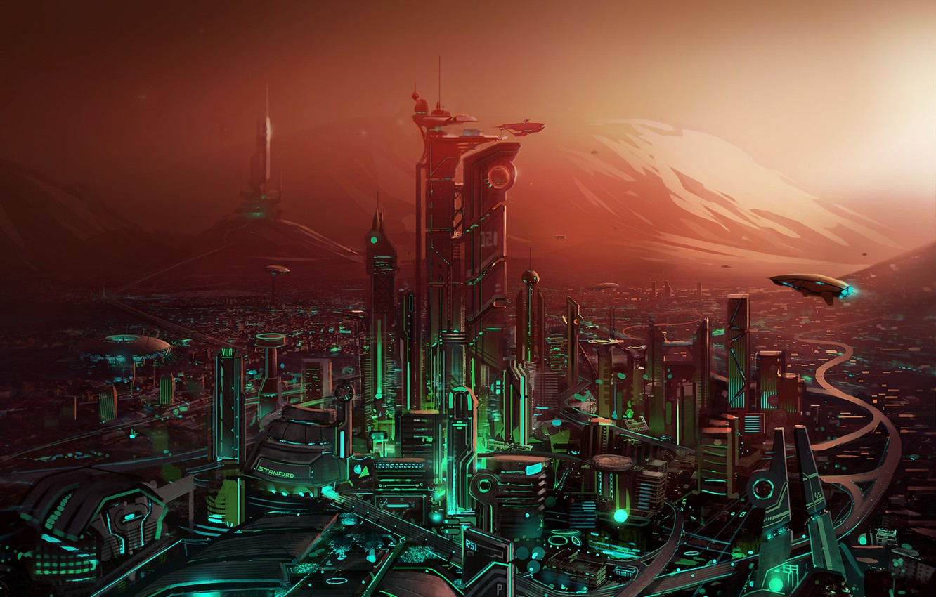 Photo wallpaper the city, graphics, Painting, Fiction, the city of the future, fences