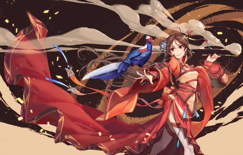Photo wallpaper smile, the wind, smoke, tube, train, geisha, mouthpiece, red dress, red eyes, pheasant