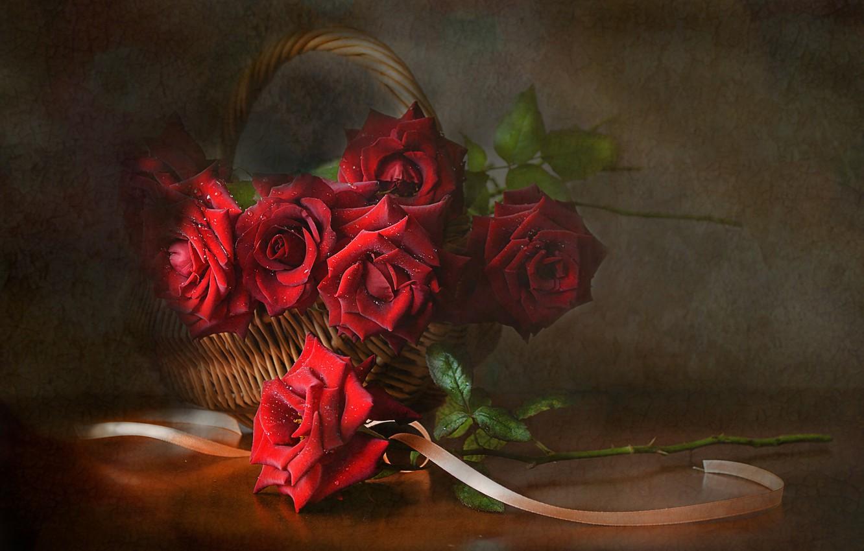 Photo wallpaper flowers, basket, roses, tape, still life