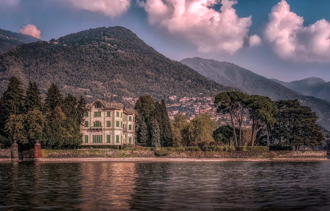 Photo wallpaper forest, the sky, the sun, clouds, trees, mountains, nature, lake, shore, Villa, home, Italy, Lake …