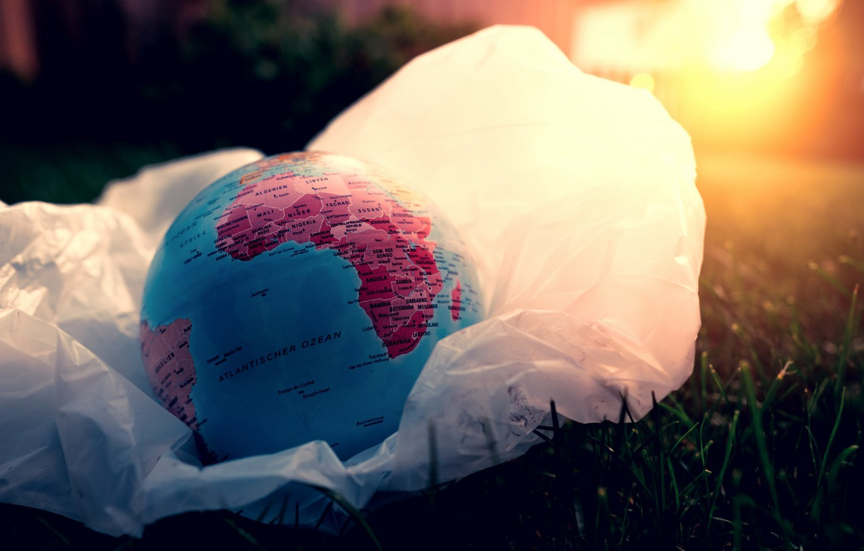 Photo wallpaper ball, globe, flat land