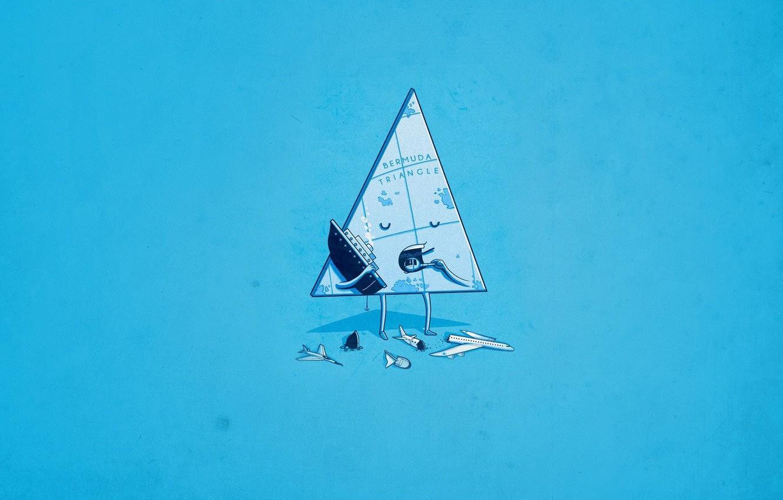 Photo wallpaper Minimalism, Aircarft, Ship, Humor, Bermuda triangle