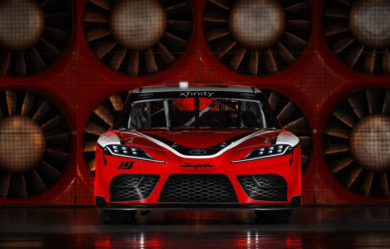 Photo wallpaper racing car, Toyota, front view, Supra, 2019, Xfinity