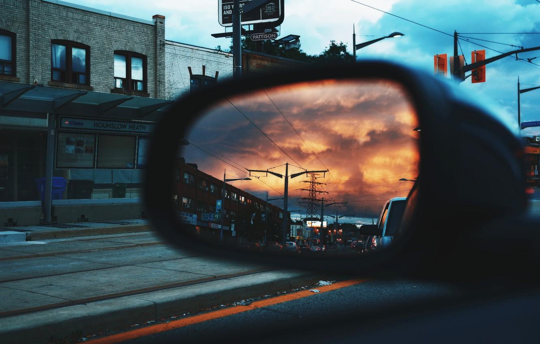 Photo wallpaper City, Car, Mirror, Reflection