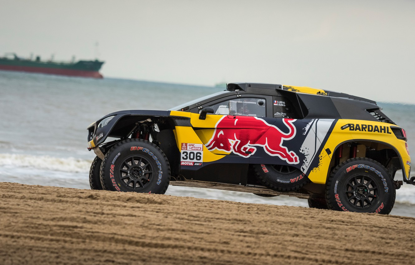 Photo wallpaper Sand, The ocean, Auto, Sport, Machine, Shore, Race, Peugeot, Red Bull, Rally, Dakar, Dakar, SUV, …