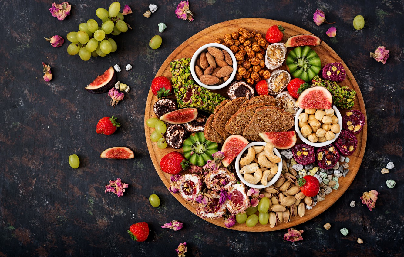Photo wallpaper berries, colorful, kiwi, strawberry, bread, grapes, sweets, summer, fruit, nuts, wood, sweet, strawberry, fruits, berries, …