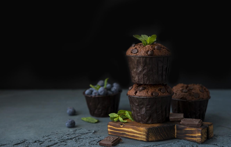 Photo wallpaper drops, blueberries, cupcakes, chocolate, Muffins, Evgeshka999