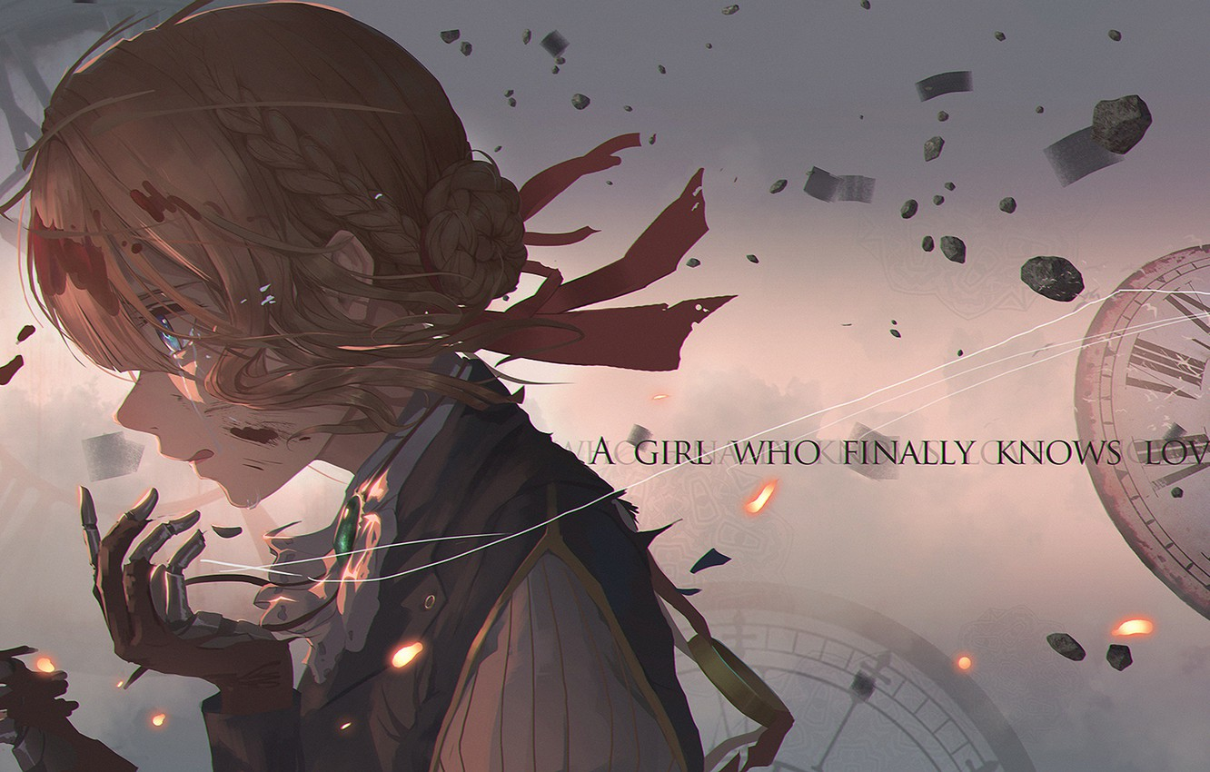 Photo wallpaper blood, watch, dial, in profile, iron hand, red ribbon, Violet Evergarden
