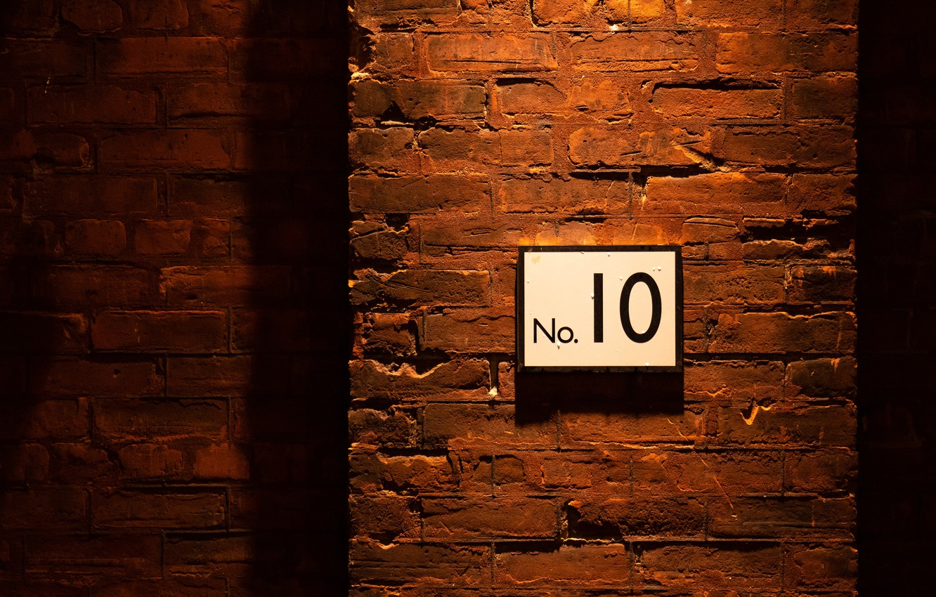 Photo wallpaper wall, plate, brick, number 10